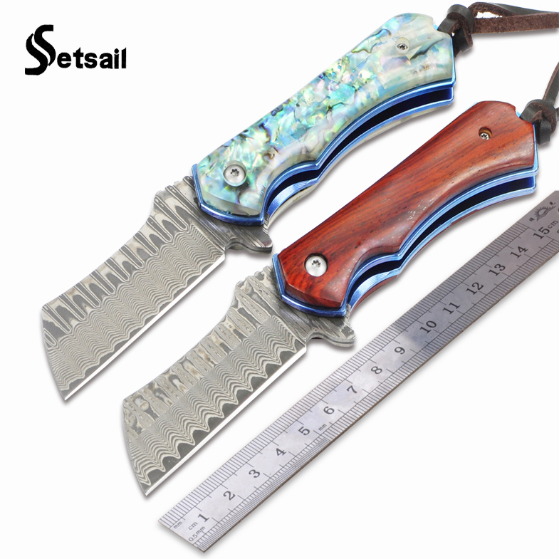 Setsail Folding knife VG10 Damascus Steel Blade titanium Handle Survival Tactical Outdoor Camping Knife collection hunting knife hot selling ef84 damascus folding blade knife wood handle damascus steel tactical knife outdoor tool hunting camping knife