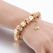 Crystal Pendant Charm Bracelet