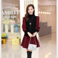 Winter New Fashion Women Sweet Dress Long sleeve Plaid Splicing Knitting Short Dresses Elegant Slim Ladies Office Dress G1872