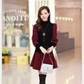 Winter New Fashion Women Sweet Dress Long sleeve Plaid Splicing Knitting Short Dresses Elegant Slim Ladies Office Dress G1872
