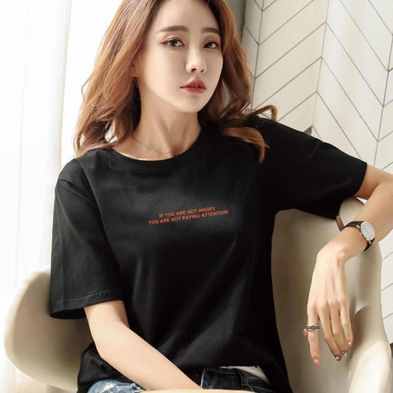 Женская футболка с коротким рукавом XXXL в Корейском стиле с коротким рукавом, новая летняя футболка с коротким рукавом, СВОБОДНЫЙ Модный Топ с принтом с коротким рукавом