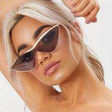 d25d001cca7a6 Olho de Gato Óculos De Sol Das Mulheres Clássico Pequeno Triângulo de Metal retro  Óculos de Sol Das Senhoras 2018 tons claros Do.