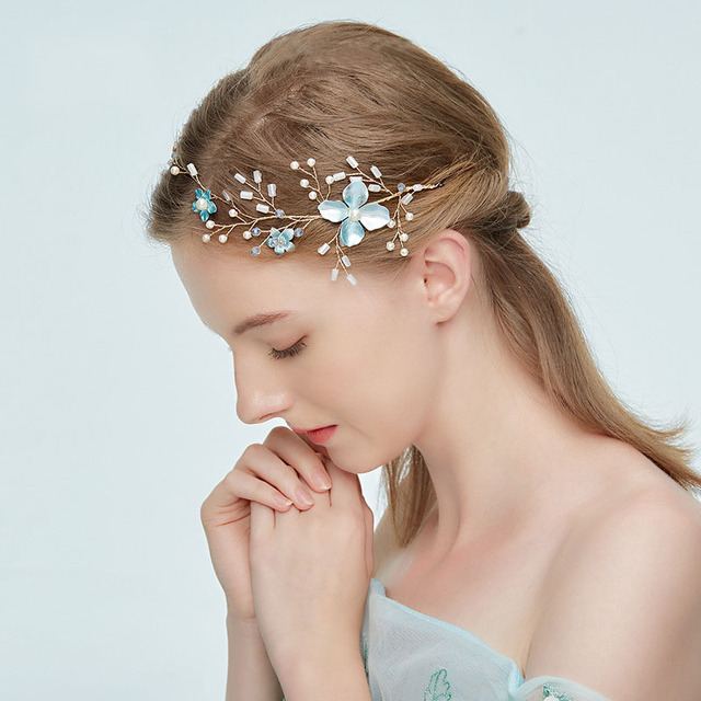 Korean Japanese Fashion Bride Hair Jewelry Wedding Party Floral Headband Alloy Pearls Diamond Band Accessories
