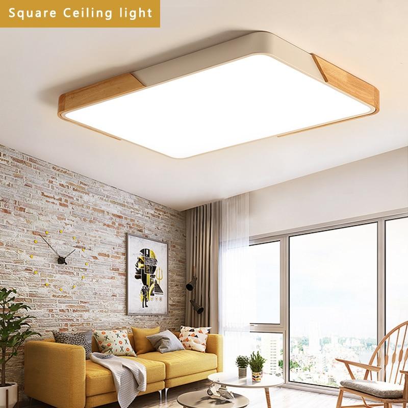 Plafonnier à LED carré en métal multicolore en bois de malaisie 70 W, 42W. 32 W, 22 W, 16 W pour Foyer, salle à manger de chambre à coucher