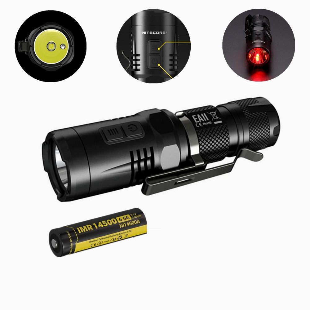New NITECORE EA11 EDC 900 lumens CREE XM-L2 LED Flashlight Torch with Red Light with IMR 14500 battery new klarus st12 led flahlight cree xm l2 5 modes led 900 lumens torch flashlight with 1 x 18650 battery