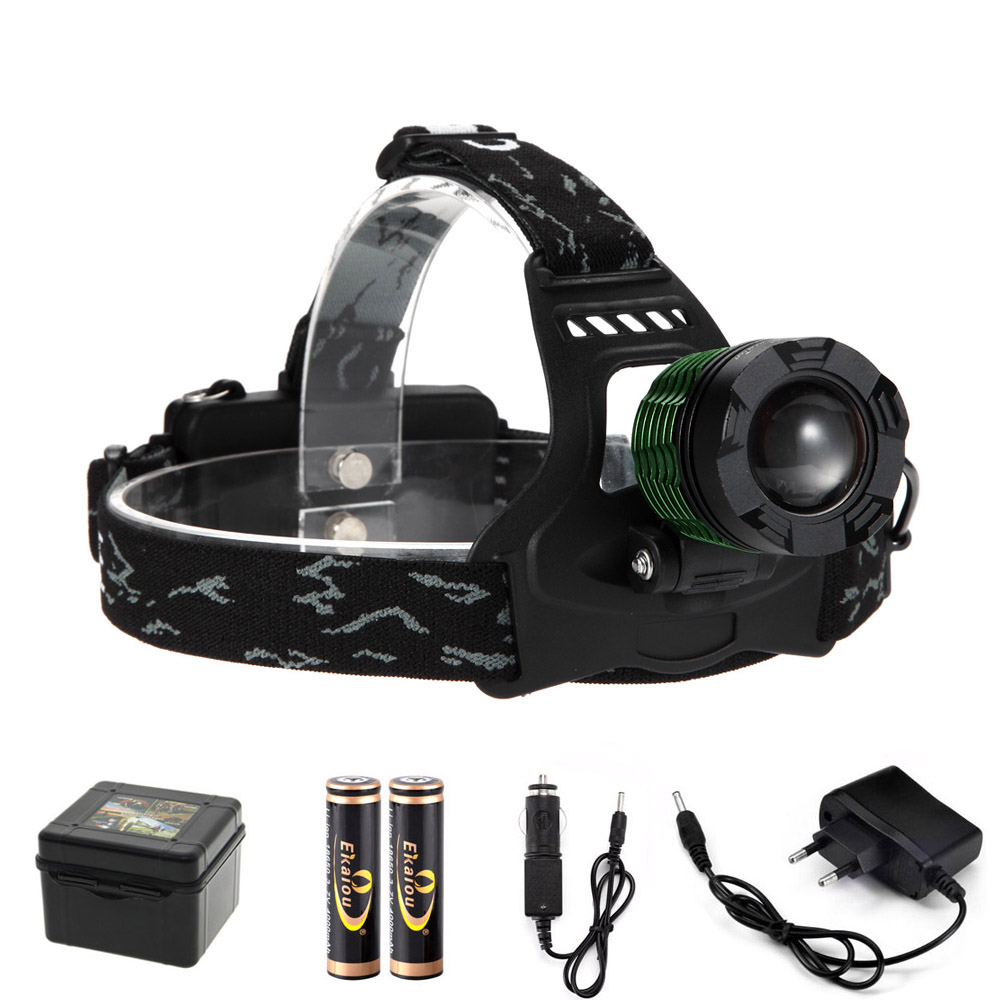 Waterproof luar ruangan LED Zoom Headlamp 3800 lumens daya tinggi xml t6 dipimpin headlamp isi ulang dipimpin headlamp