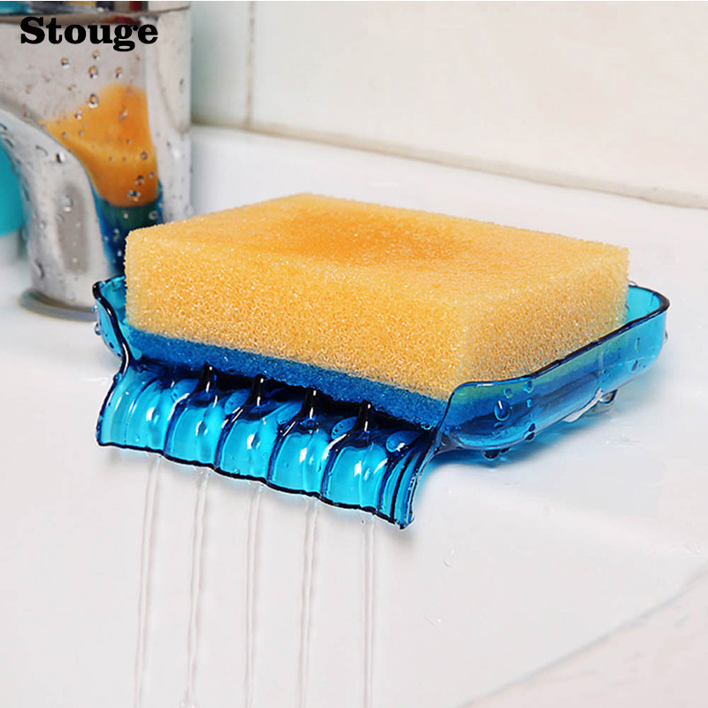 Stouge 1PC Soap Storage Box Sponge Holder For Bathroom Dish Case Makeup Organizer Double Sucker Bathroom Kitchen Organizer