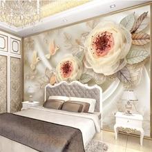 beibehang Custom wallpaper 3d photo mural luxury wedding room silk flowers bird