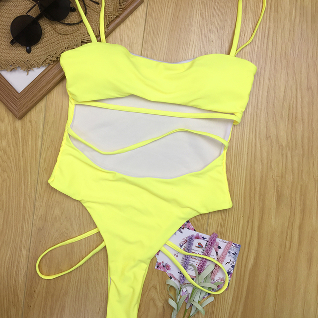 Horny Thong One Piece Swimsuit 2019 Girls Strong Bandage Bathing Go well with Swimwear Yellow Pink Black Blue Excessive Waist Lower Out Monokini