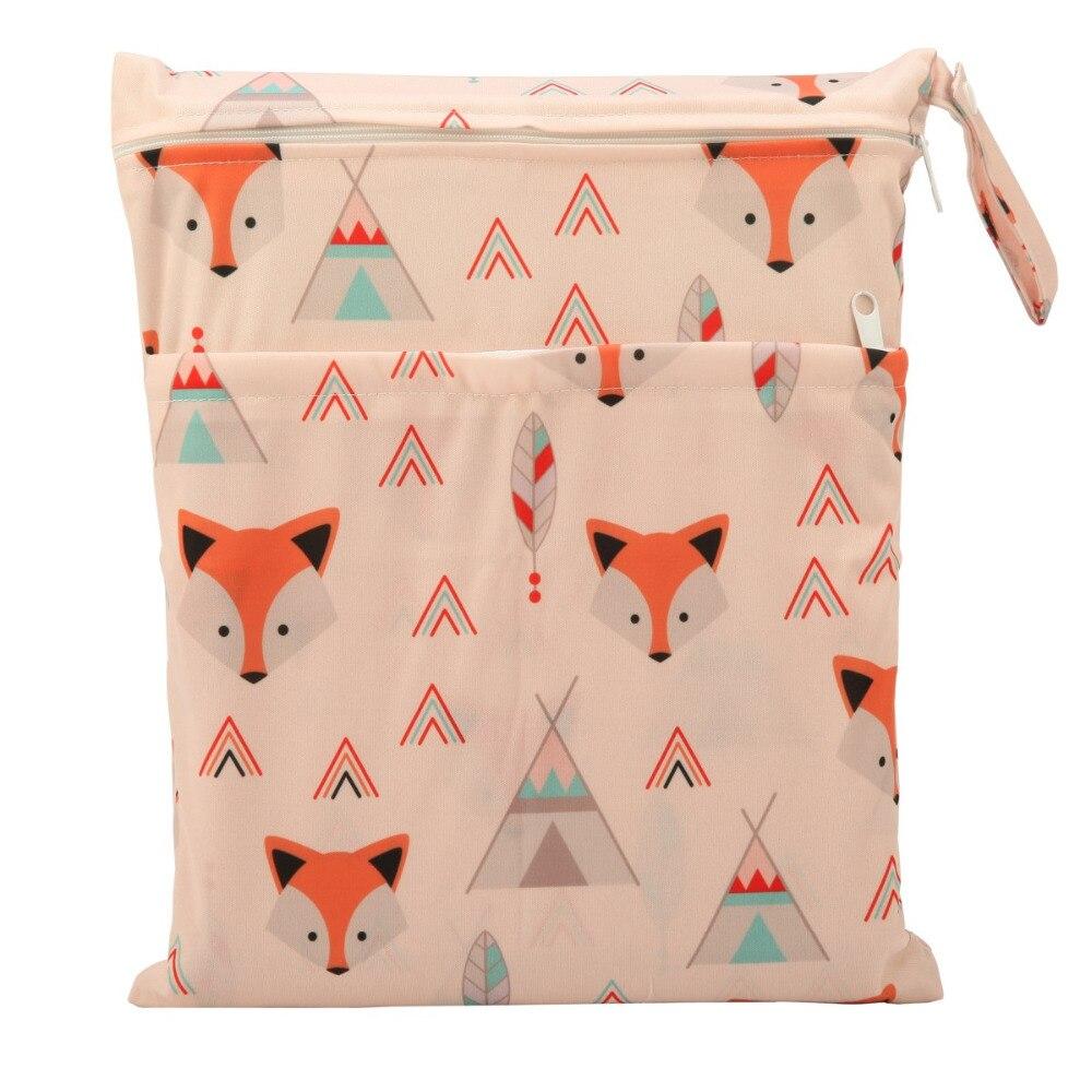 HTB1aPSuoH1YBuNjSszeq6yblFXaJ [Sigzagor]Wet Dry Bag With Two Zippered Baby Diaper Bag Nappy Bag,Waterproof Reusable 36cmx29cm Owl&Tree 100 Designs