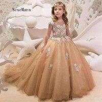 Шампанское пышные фатиновые Платье в цветочек для девочек для свадеб 3D аппликация бисером малышей пышные платья Тюль детское праздничное п