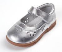 Girls Shoes Sheepskin Soft Toddler Shoes Silver Mary Jane Flower Cutouts For Spring Summer Autumn For