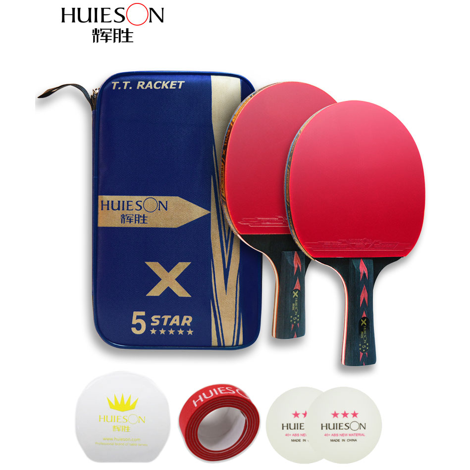 Huieson Table Tennis Racket Ping Pong Rackets 2PCS/lot Pad Blade Bat Paddle With Pingpong  Bag Sticky Power Pipls-In Rubber