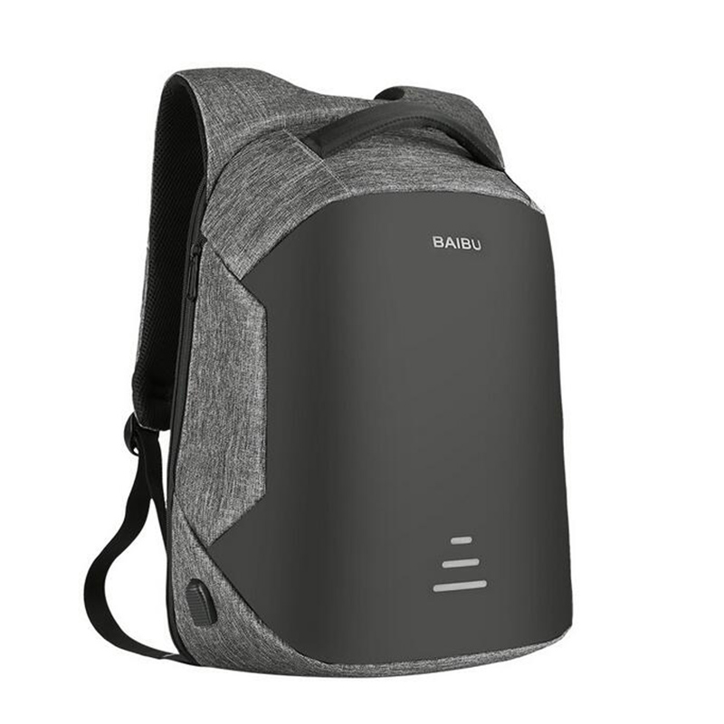 BaiBu Men Backpack Anti-theft Waterproof USB Charging Design Laptop Backpack Student Boy School Bags For Teenagers Travel Bag kingsons external charging usb function school backpack anti theft boy s girl s dayback women travel bag 15 6 inch 2017 new