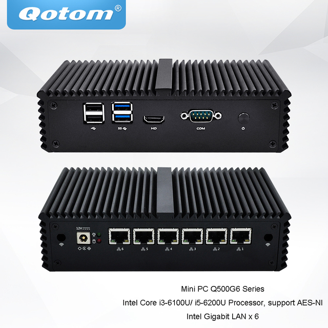 Qotom Mini PC Core i3-6100U i5-6200U процессор Dual core 2.3 GHz 6 LAN pfsense Linux мини пк 1