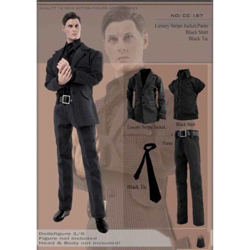 1/6 CC187 Gentleman Black Striped Suit Coat Pants Tie And Shirt Set Models For 12'' Figures Bodies Accessories