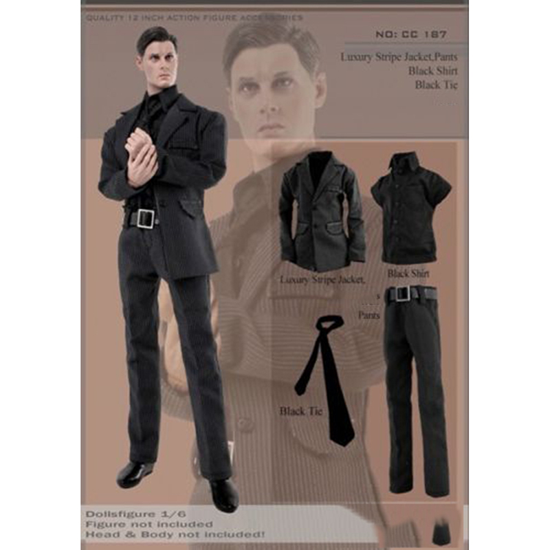 """Men/'s Black Leather coat+pants+Shirt Model  For 1//6th 12/"""" Male Figure Doll Toy"""