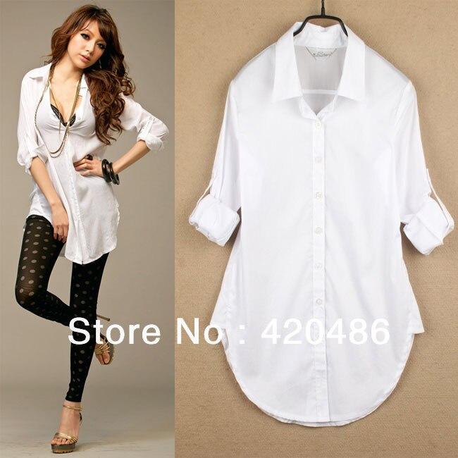 New Fashion Sexy Classic Womens Boyfriend Wind White Shirt Loose ...