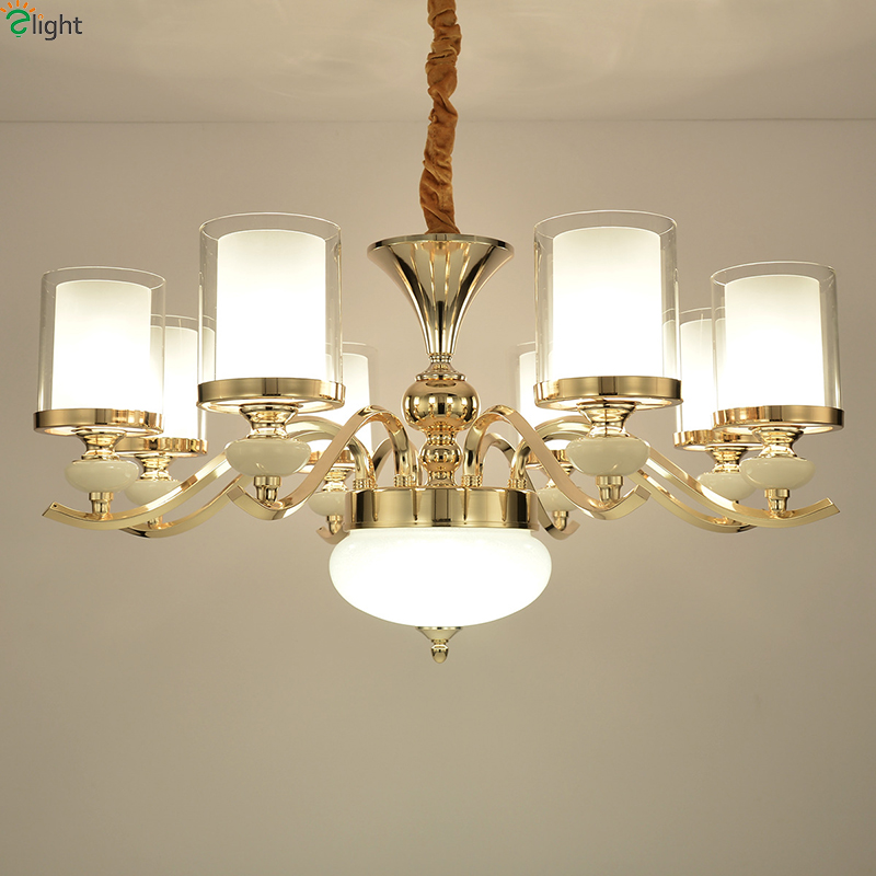 Modern Gold Metal Led Pendant Lights Lustre Glass Living Room Led Pendant Lamp Dining Room Pendant Light Hanging Light Fixtures modern lustre crystal led chandelier lighting chrome metal living room led pendant chandeliers light led hanging lights fixtures