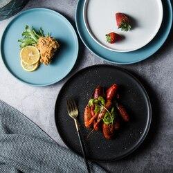 1PC ceramiczne płytkie talerze wołowina płaski talerz zastawa stołowa okrągły jednolity kolor deser danie proste i kreatywne nóż do sałatek naczynia w Naczynia i talerze od Dom i ogród na
