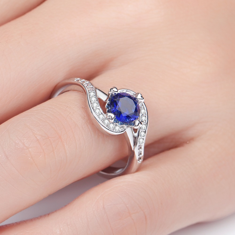 MEGREZEN Women\'S Rhinestone Ring Blue Stone Silver Jewelry ...