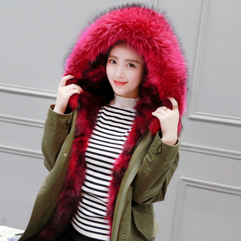 2016 New Real raccoon Fur Collar Lined With Fox Fur Coat Liner Female Coat Army Green Long Jackets Slim Winter Jacket Women 2017 winter new clothes to overcome the coat of women in the long reed rabbit hair fur fur coat fox raccoon fur collar