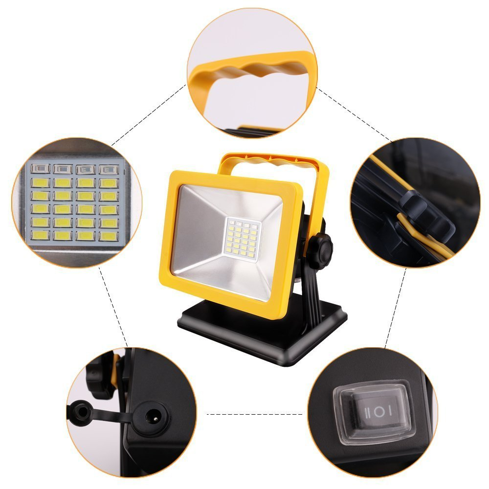 Rechargeable Battery Powered LED Work Light 15W 7H Lighting IP65 Spotlights Outdoor Camping Emergency Floodlights with SOS Mode