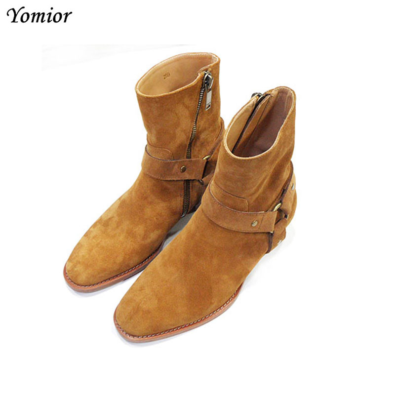 Handmade Kanye West Shoes Men Boots Chelsea Ankle Boots Genuine Leather Wedding Party Dress Boots Motorcycle Men Shoes Big Size stylish gold plated filigree pumpkin car hairband for women