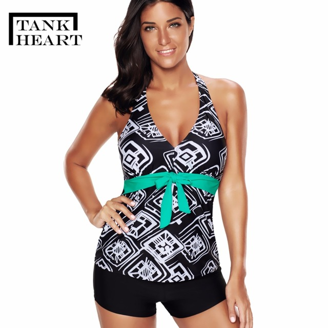 42cdee4533d46 Tank Heart Print Sexy Tankini Swimsuit for girl Plus Size Swimwear Women Bikini  Girl Two Piece Swimsuit with Skirt Swim Suit 5XL