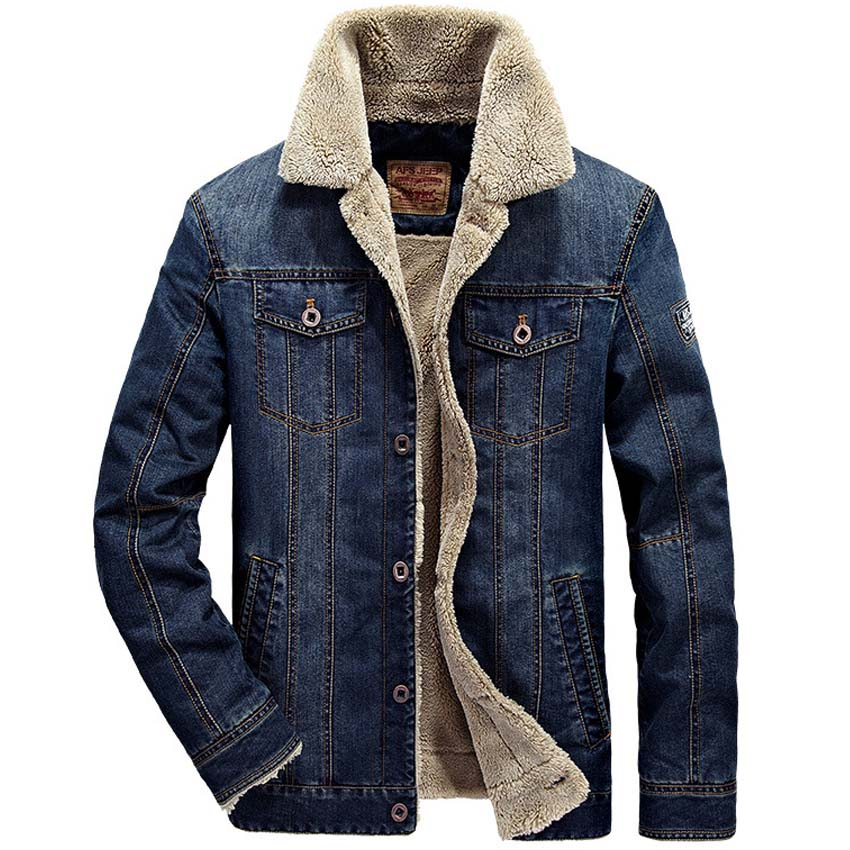 AFS JEEP Mens Blue Denim Outwear Wool Liner Winter Jacket Warm Winter Dress Thicken Jeans Coats Men's Parka 175