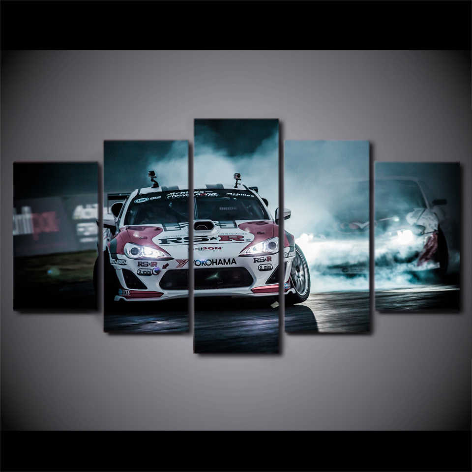 Modern HD Printed Modular Pictures Frame Wall Art Poster 5 Panel TOYOTA 86 FRS BRZ Racing Car Canvas Painting Home Decor