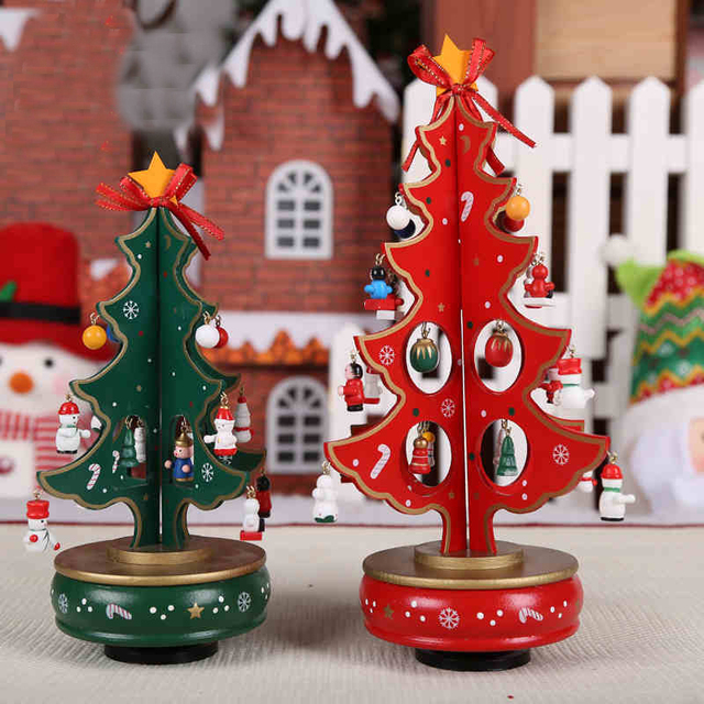 red green xmas tree music box new year gift box rotating christmas tree christmas gift for