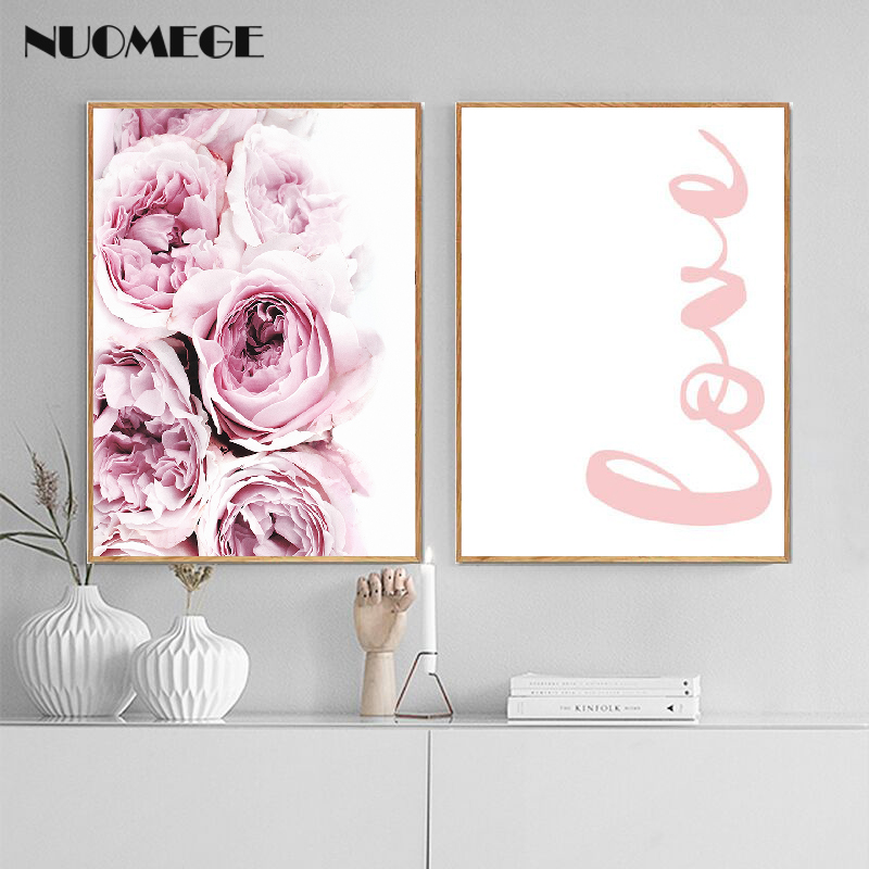 Pink Flower Wall Art Canvas Painting Love Quote Posters Nordic Prints Scandinavian Style Decorative Picture Modern Home Decor