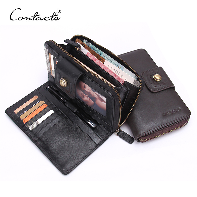 CONTACT'S 2017 New Business Men Long Wallet Hasp Zipper Designer Genuine Leather Male Purse Brand Mens Clutch Luxury Wallets designer 2017 new mens ostrich wallet men clutch wallet cowhide genuine leather zipper long male purse phone holder famous brand