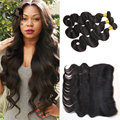 8A Peruvian Virgin Hair Lace Frontal Closure With Bundles 13x4 Body Wave Human Hair Lace Fontal With Bundles Angie Virgin Hair