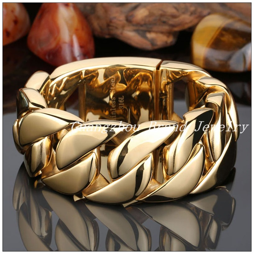 New Arrive 316L Stainless Steel Gold color Curb Cuban Chain Men's Bracelet Bangle 22cm Or 24cm,Huge Heavy Jewelry