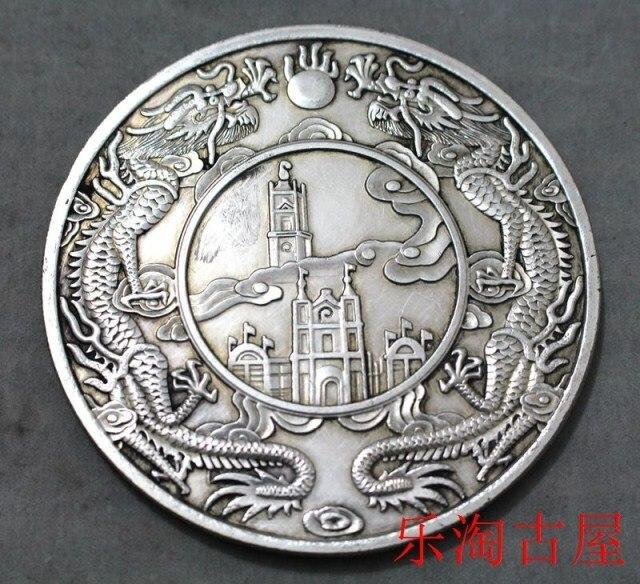 Großen Alten China Münze Drachen Silber Dollar Lob Und Honor