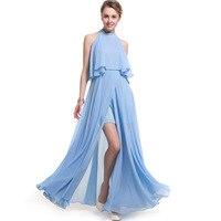Холтер бретелек шифоновое длинное платье 2017, женская обувь макси платья vestidos сексуальная синий фиолетовый сплит пляжное летнее платье
