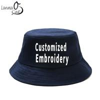 Lanmaocat Custom 3d Embroidery Cap Men Women Custom Embroidery Bucket Cap Cotton Fisherman Hat for Kid Male Female Free Shipping