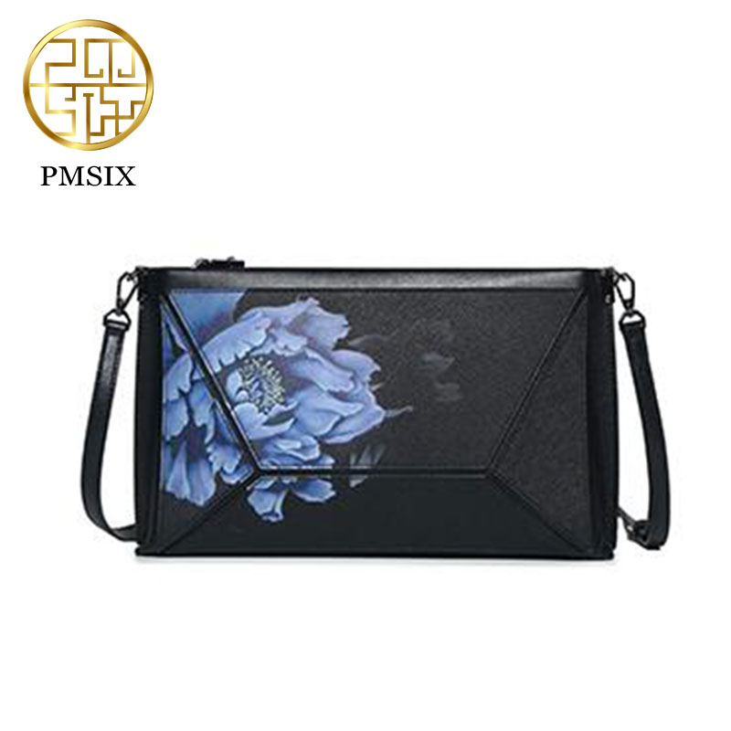 PMSIX New Printed Shoulder Bags Large Capacity Messenger Bag Leather Bags For Women Clutch Bag Female P520006 maison jules new blue women large l umbrella printed surplice jumpsuit $79 059