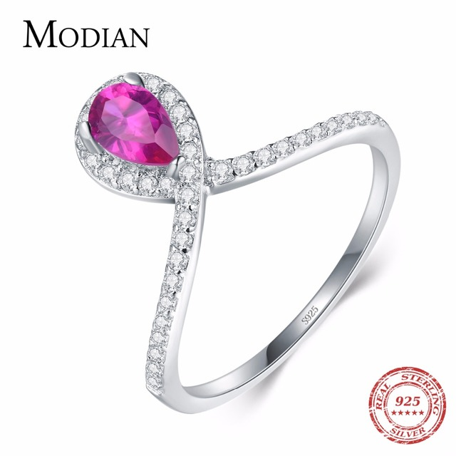 Modian Fashion Real 925 Sterling Silver Water Drop Pear Pink Crystal CZ Ring Classic Anniversary Party Jewelry For Women Anel