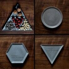 Geometric design of round concrete tray silicone mold creative hexagon fruit cement