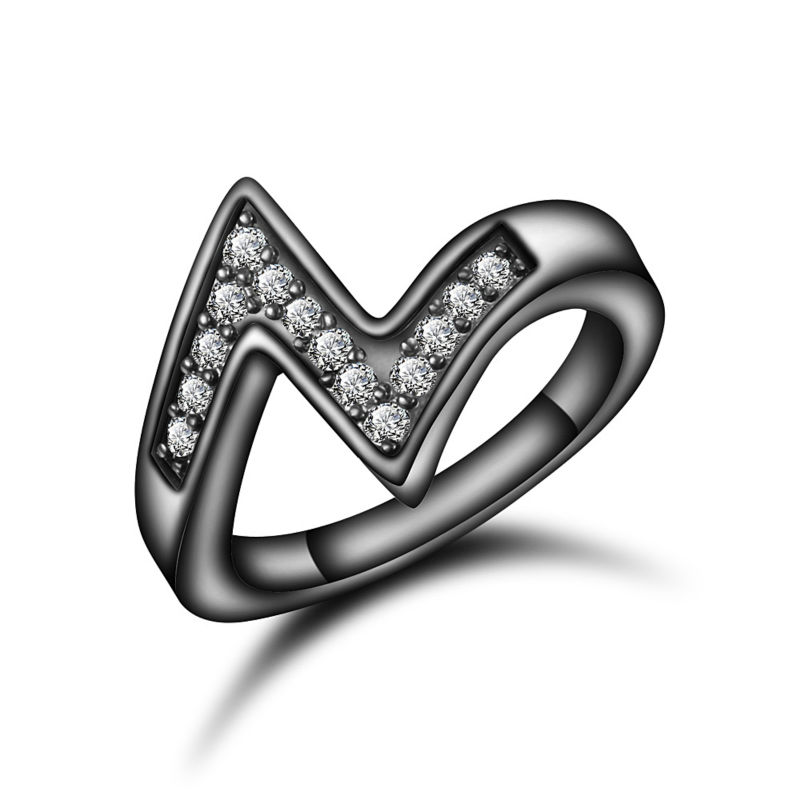 Classic Finger Rings Jewelry Women Gold Black Ring Zircon Crystal Rhinestone Charm Ring Plate Lover Wedding Lady Gift