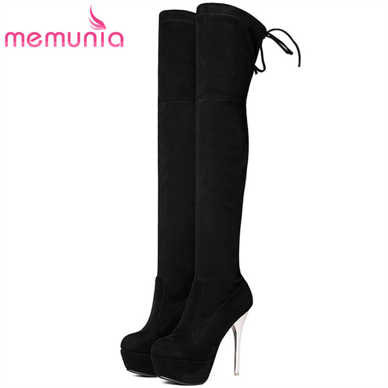 MEMUNIA Over the knee boots sexy lady party thin heels shoes woman flock solid platform boots in spring autumn plus size 34-43 sexy women fashion boots high thin heels shoes round toe platform ladies party over the knee knight boots plus size 43