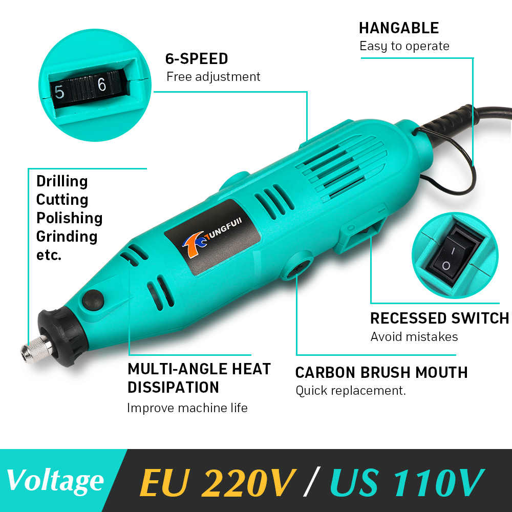 Tungfull mini akcesoria do wiertarki elektrycznej wiertła narzędzia do obróbki drewna zmienna prędkość elektryczne narzędzie obrotowe Mini wiertarko-szlifierka