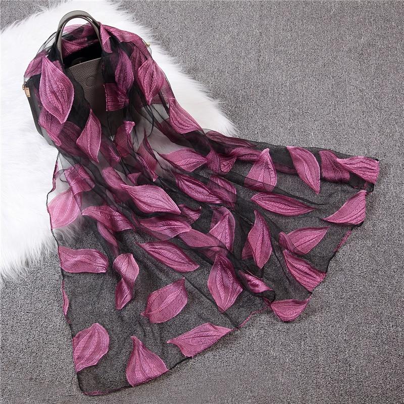 Design 2020 Women Silk Scarf Pashmina Hijab Wrap Female Flower Leaf Embroidery Scarves For Ladies Beach Shawl