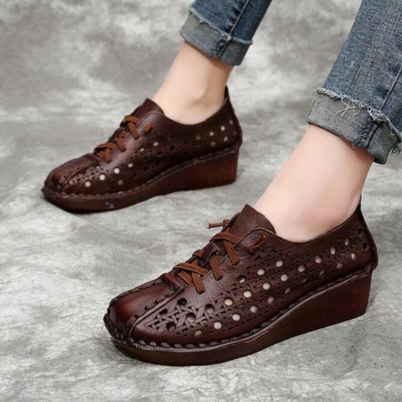 Fait à la main 100% naturel complet en cuir véritable sandales d'été femmes sandales 2019 nouveau à lacets trou chaussures femme sandales chaussures de mode - 5