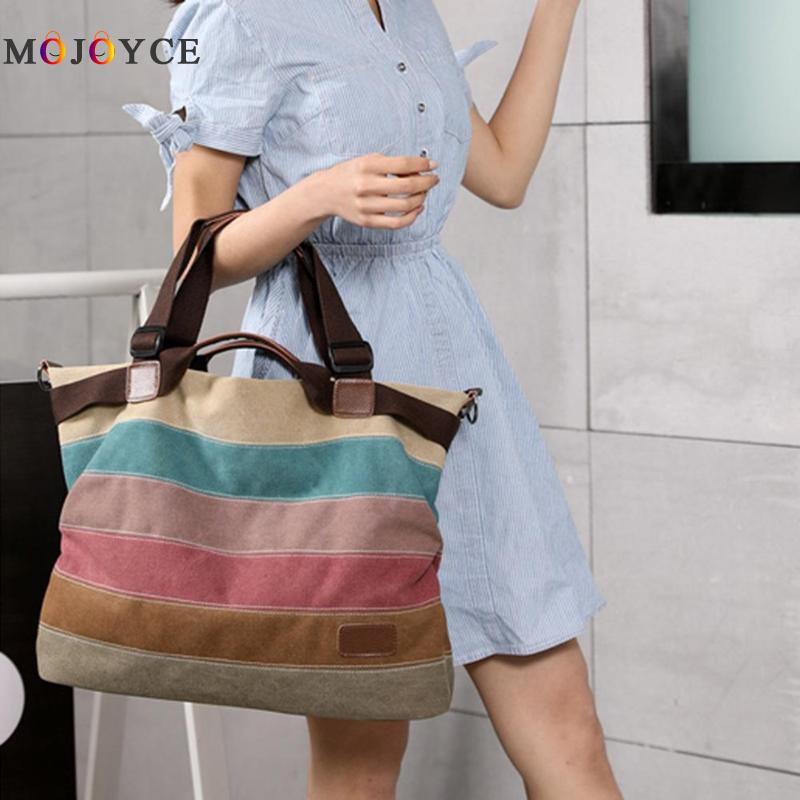 3 Ways Wearing Women Canvas Shoulder Bag Rainbow Color Stripes Big Capacity Shopping Totes Female Handbag