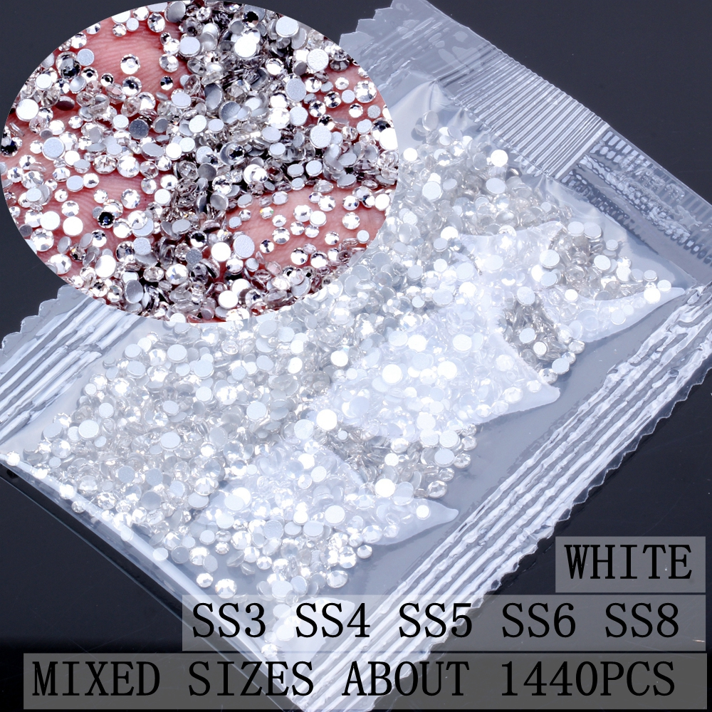 Dropwow Crystal Rhinestones SS3-SS8 FlatBack Nail Rhinestone 3D Non ... f5c09c51b9a8