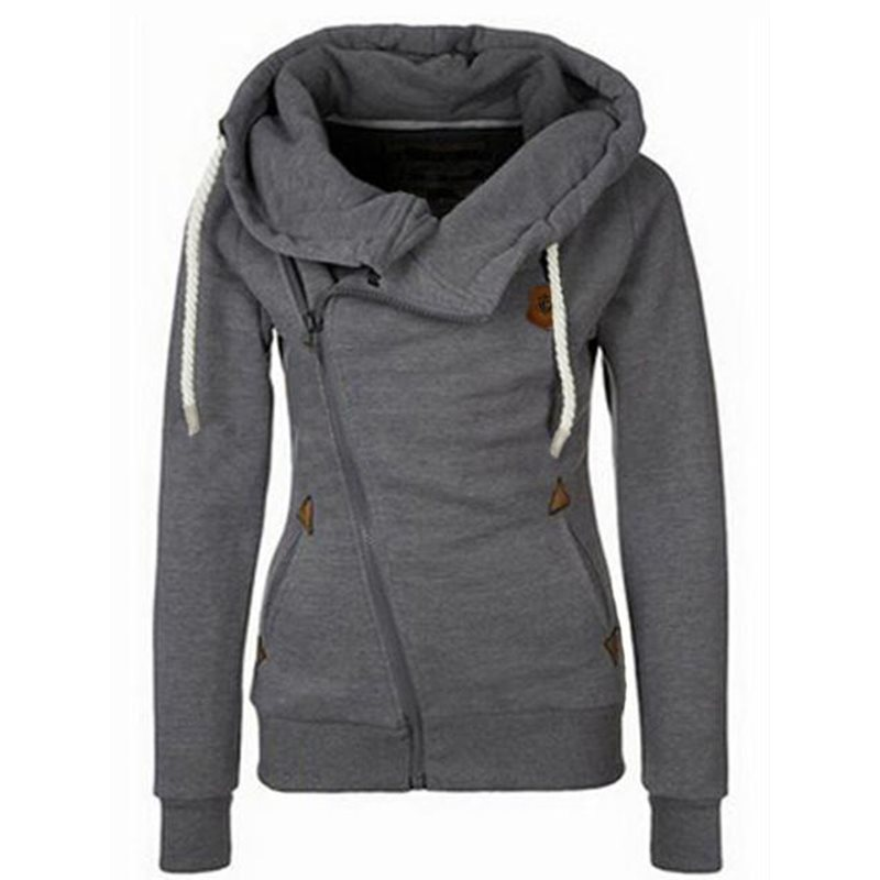 Casual Gray Autumn Harajuku Streetwear Warm Women Hoodies Slim Plain Zipper Pockets Fall Female Fashion Gothic Tops Sweatshirts